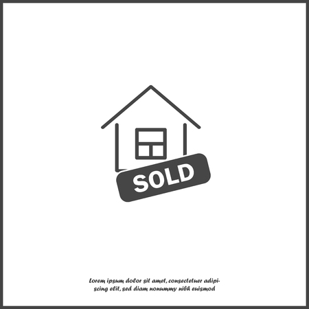 Sold house vector icon. Business illustration on white isolated background. Layers grouped for easy editing illustration. For your design. Vector Illustration