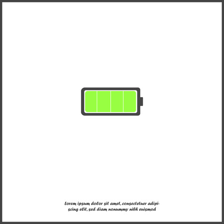 Full battery vector icon. Charged battery green on white isolated background. Layers grouped for easy editing illustration. For your design.