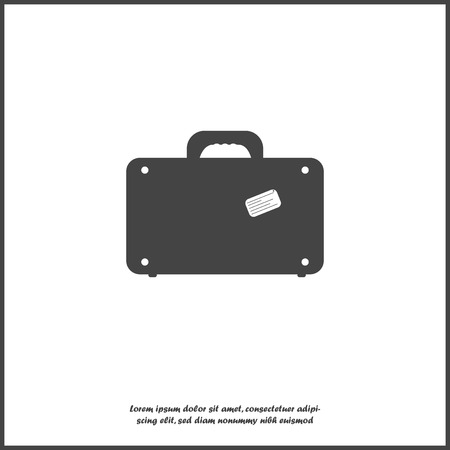 Vector suitcase icon on white isolated background. Layers grouped for easy editing illustration. For your design. Vectores
