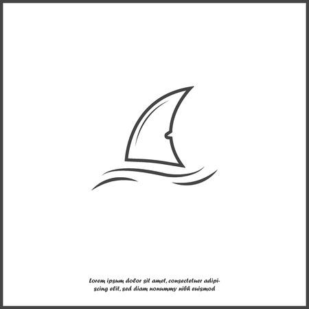 Icono de vector de aleta de tiburón. Aleta en el agua sobre fondo blanco aislado. Capas agrupadas para facilitar la edición de la ilustración. Para tu diseño Ilustración de vector