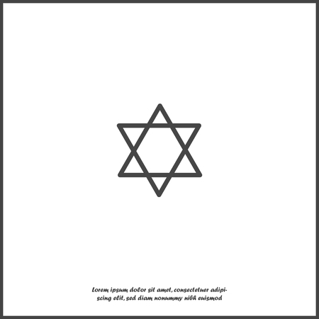 Vector icon star from two triangles. Illustration of a five-pointed star on white isolated background. Layers grouped for easy editing illustration. For your design.