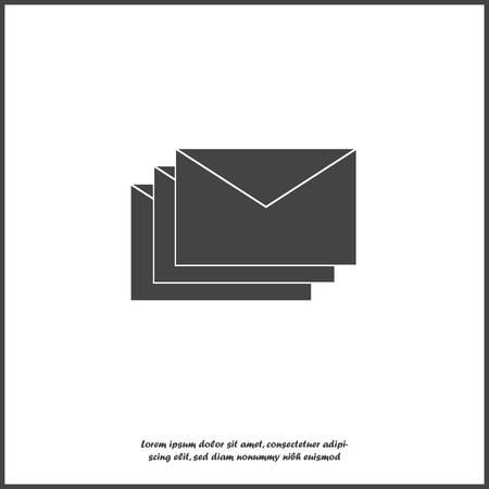 Vector icon of envelope. Paper envelope flies to the destination. Message icon in the mail on white isolated background.  Layers grouped for easy editing illustration. For your design.  イラスト・ベクター素材