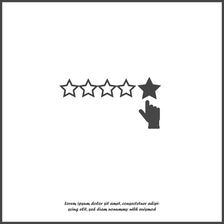 Vector icon of customer feedback. The client's hand clicks on the asterisk. Customer review on white isolated background. Layers grouped for easy editing illustration. For your design. Illustration