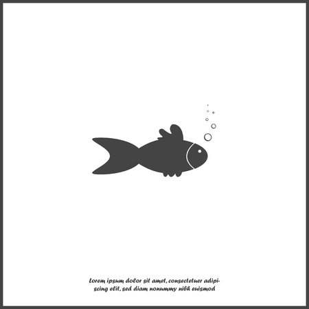Vector image of fish and bubbles on white isolated background. Layers grouped for easy editing illustration. For your design.