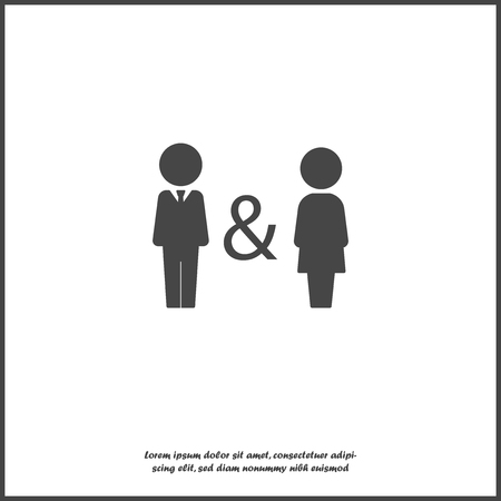 Vector icon of man and woman. Family symbol of proximity, support, compatibility. Joint life, life and work of men and women. Joint business icon on white isolated backgrou Layers grouped for easy editing illustration. For your design.