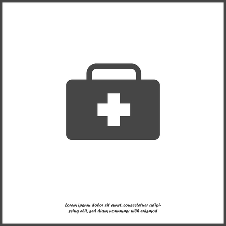 Vector icon indicates the presence of first-aid. Doctor. First Aid Kit. Vector icon illustration on white isolated background. Layers grouped for easy editing illustration. For your design. Ilustração