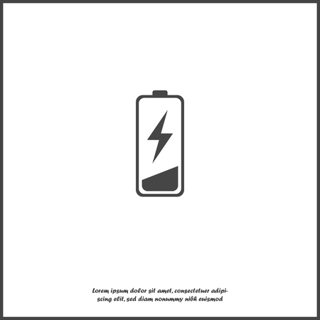 Out of battery charge vector icon. Low battery on white isolated background. Layers grouped for easy editing illustration. For your design. Ilustração