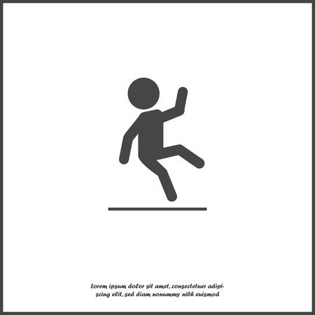 Icône de vecteur d'une personne qui tombe. Panneau d'avertissement de sol mouillé. Route glissante sur fond isolé blanc. Couches regroupées pour une édition facile de l'illustration. Pour votre conception. Vecteurs