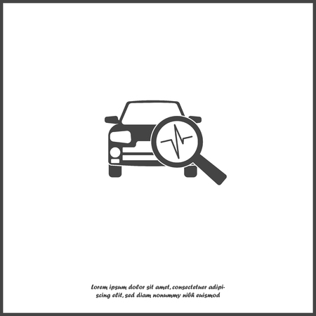 Vector car diagnostics icon on white isolated background. Layers grouped for easy editing illustration. For your design