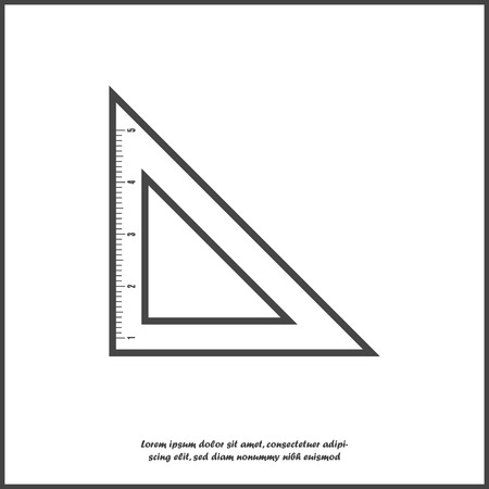 Vector icon triangle ruler. Metric system. School measuring lance. Measuring tape on white isolated background. Layers grouped for easy editing illustration. For your design. Иллюстрация