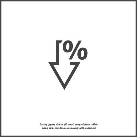 Icona del vettore freccia in basso e segno di percentuale su sfondo bianco isolato. Livelli raggruppati per un facile montaggio dell'illustrazione. Per il tuo disegno.