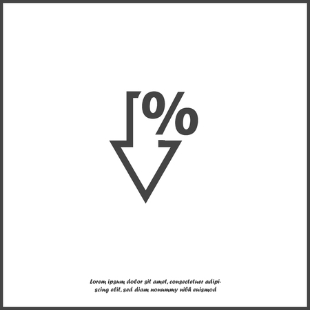 Vector icon down arrow and percentage sign on white isolated background. Layers grouped for easy editing illustration. For your design.