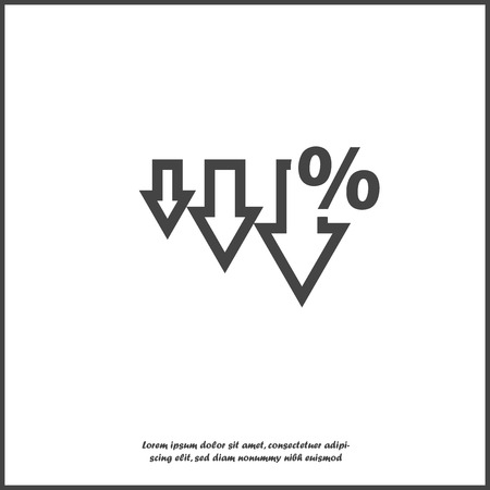 Vector icon down arrow and percentage sign on white isolated background. Layers grouped for easy editing illustration. For your design. Ilustración de vector