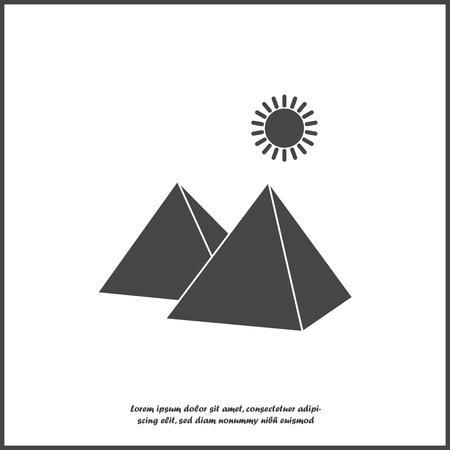 Vector icon pyramid and sun in the desert on white isolated background. Layers grouped for easy editing illustration. For your design. Ilustrace