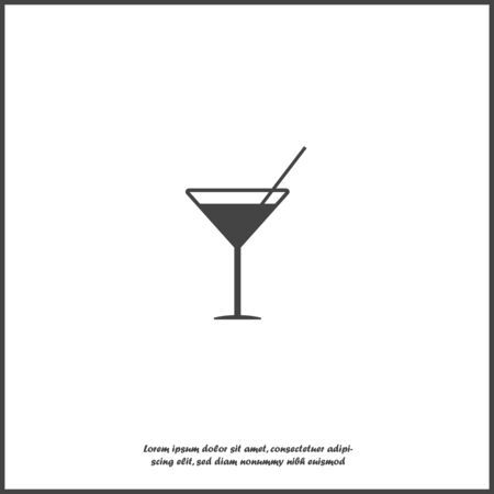 Vector icon cocktail with martini on white isolated background. Layers grouped for easy editing illustration. For your design.