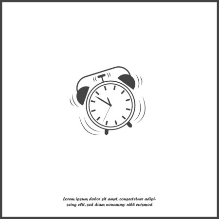 Vector icon ringing alarm clock on white isolated background.  Layers grouped for easy editing illustration. For your design.