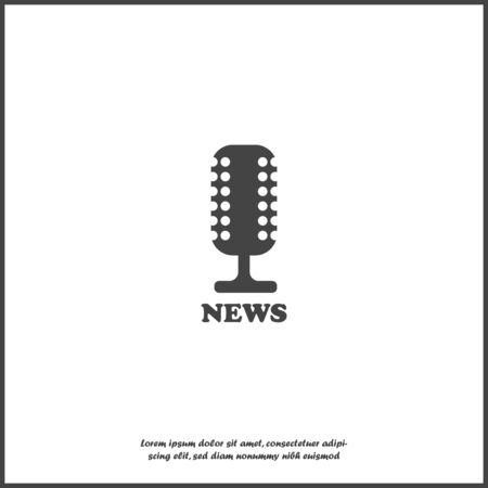 Microphone news vector icon on white isolated background. Layers grouped for easy editing illustration.Layers grouped for easy editing illustration.