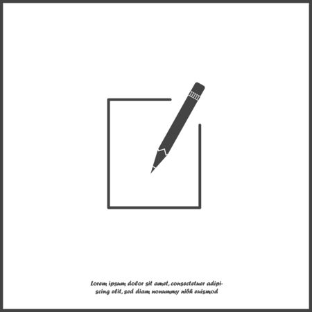 Edit vector icon on white isolated background. Document pencil edit. Layers grouped for easy editing illustration. For your design. Illustration
