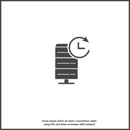 Vector data center icon. Illustration server and clock on white isolated background. Layers grouped for easy editing illustration. For your design. Stock Illustratie