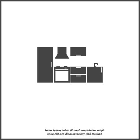 Vector kitchen room icon on white isolated background. Layers grouped for easy editing illustration. For your design.