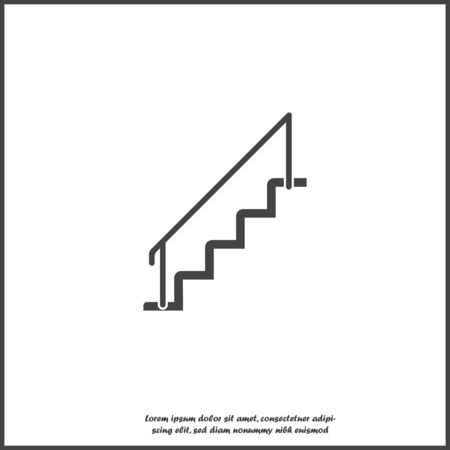 Vector staircase icon on white isolated background. Layers grouped for easy editing illustration. For your design.