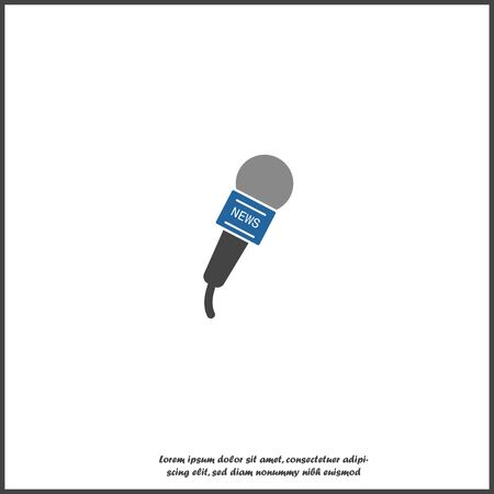 Vector microphone icon with a news symbol on white isolated background. Layers grouped for easy editing illustration. For your design.
