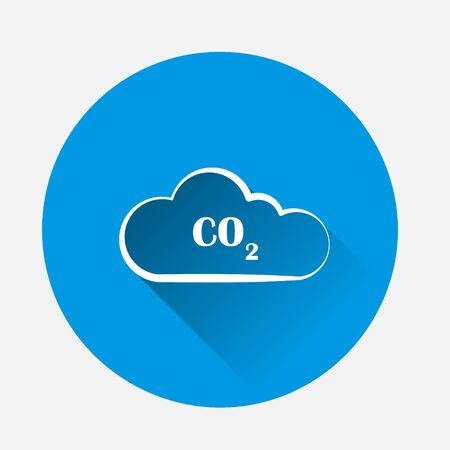 CO2 vector icon on blue background. Flat image with long shadow. Layers grouped for easy editing illustration. For your design.