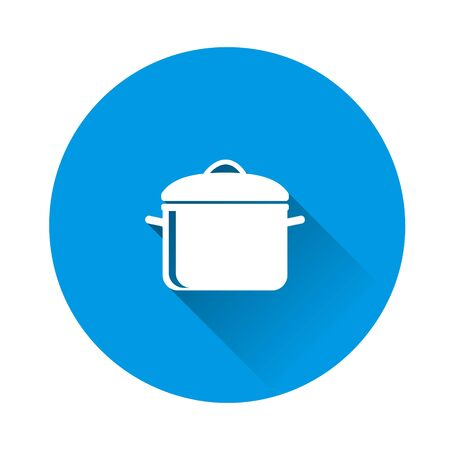 Vector pan icon. Cooking symbol on blue background. Flat image with long shadow. Layers grouped for easy editing illustration. For your design.
