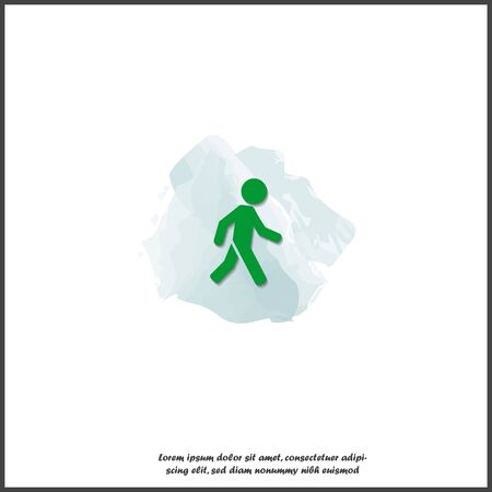 Vector walking pedestrian icon. Illustration of a walking man on white isolated background. Layers grouped for easy editing illustration. For your design. Illustration