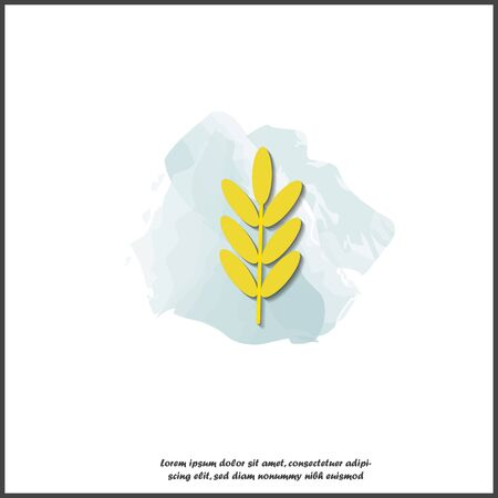 Vector icon ears of wheat, cereal. Ear of oats rye ears on white isolated background. Layers grouped for easy editing illustration. For your design. Illustration