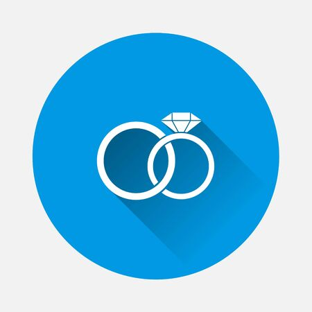 Vector icon wedding rings. Two rings male and female with a diamond. Symbol of love and family well-being on blue background. Flat image with long shadow. Layers grouped for easy editing illustration. For your design.