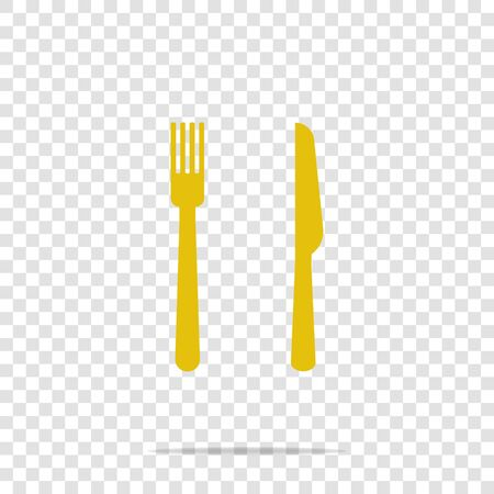 Fork and knife vector icon on transparent background. Symbol eat. Layers grouped for easy editing illustration. For your design