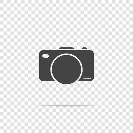 Vector illustration of a digital camera. Retro camera icon on transparent background. Layers grouped for easy editing illustration. For your design Vettoriali