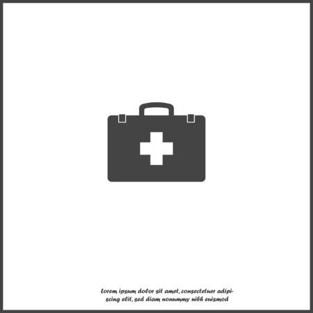 Vector icon indicates the presence of first-aid. Doctor. First Aid Kit. Vector icon illustration on white isolated background. Layers grouped for easy editing illustration. For your design.