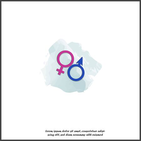 Vector icon gender symbol icon. Man and woman on white isolated background. Layers grouped for easy editing illustration. For your design.