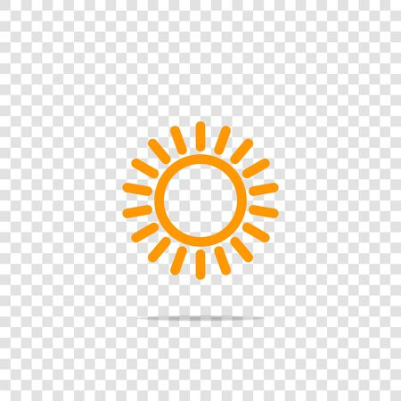 The sun icon. Flat sun icon on transparent background. Layers grouped for easy editing illustration. For your design