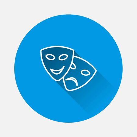 Vector Image Theatrical face mask. Drama and comedy, laughter and crying on blue background. Flat image with long shadow. Layers grouped for easy editing illustration. For your design.
