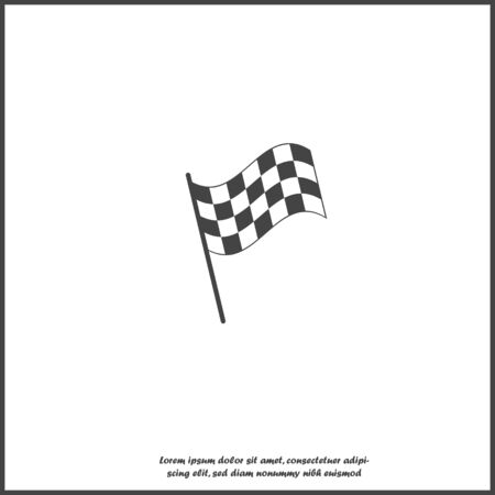 Vector car racing flag icon. Start, finish symbol on white isolated background. Layers grouped for easy editing illustration. For your design.