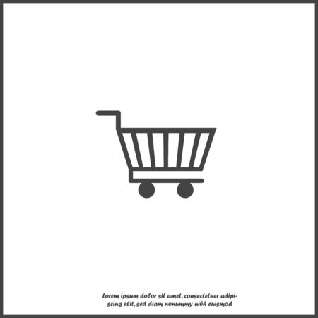 Shopping cart icon. Vector illustration cart on white isolated background. Layers grouped for easy editing illustration. For your design.