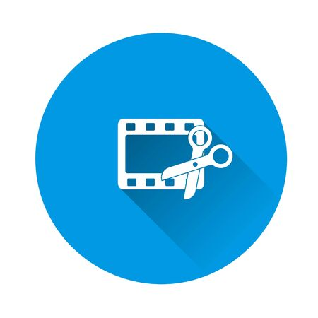 Video edit  icon. Scissors and film icon on blue background. Flat image with long shadow. Layers grouped for easy editing illustration. For your design.