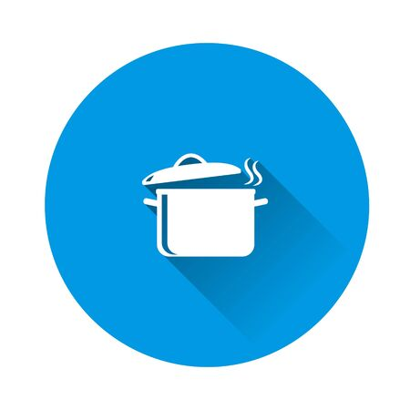 Vector pan icon with steam. Cooking symbol on blue background. Flat image with long shadow. Layers grouped for easy editing illustration. For your design.