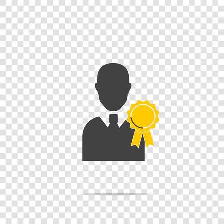 Wektor ikona Certyfikowana osoba. Wizerunek mężczyzny i medalu. Symbol nagrody, osiągnięcia wektor ikona na przezroczystym tle. Warstwy zgrupowane w celu łatwej edycji ilustracji. Dla twojego projektu