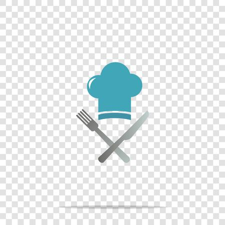 Chef hat with cross knife and fork vector icon on transparent background. Cap chef cooking. Layers grouped for easy editing illustration. For your design