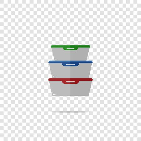 Vector illustration of a container for products. A tray of plastic or glass for food storage and lunch on transparent background. Layers grouped for easy editing illustration. For your design