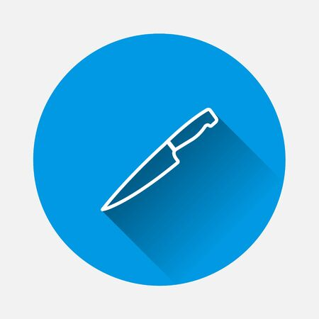 Vector icon knife on blue background. Flat image with long shadow. Layers grouped for easy editing illustration. For your design. Ilustracja