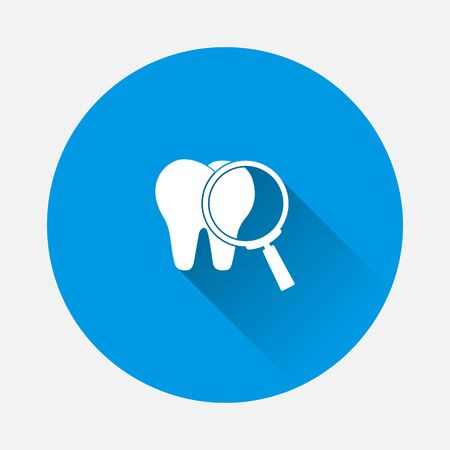 Magnifying glass and tooth vector icon  on blue background. Flat image with long shadow. Layers grouped for easy editing illustration. For your design.