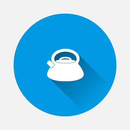 Teapot Vector Icon on blue background. Flat image with long shadow. Layers grouped for easy editing illustration. For your design. Ilustracja