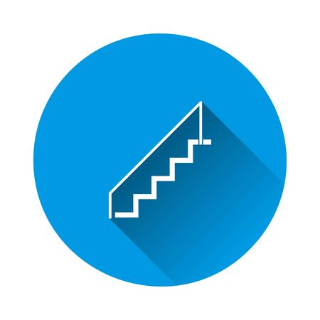 staircase icon on blue background. Flat image with long shadow. Layers grouped for easy editing illustration. For your design.