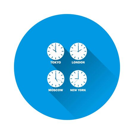 Set of clocks showing the time difference in different time zones. Timezone clock and international time on blue background. Flat image with long shadow. Layers grouped for easy editing illustration. For your design.  イラスト・ベクター素材