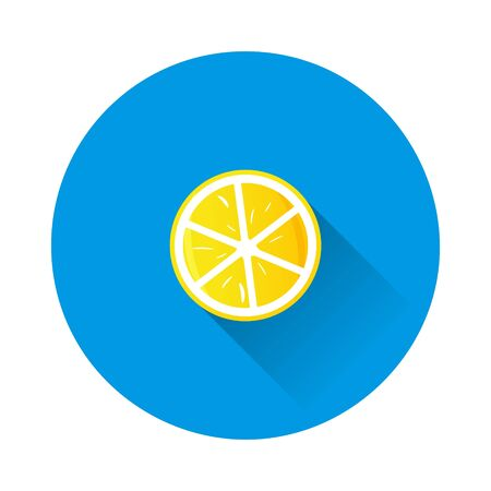 slice citrus. icon of lemon, orange, lime on blue background. Flat image with long shadow. Layers grouped for easy editing illustration. For your design. Çizim